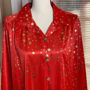 Vtg 80s Joanna USA Red Liquid Satin Blouse Stars